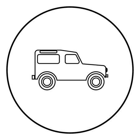 Off road vehicle icon black color in circle round outline