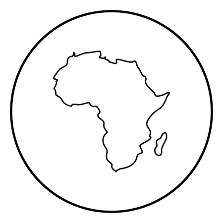 Map of Africa icon black color in circle round outline Standard-Bild - 103694612