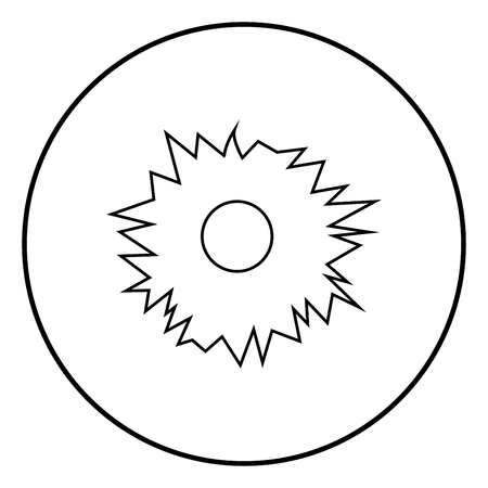 Hole from shot icon black color in circle round outline
