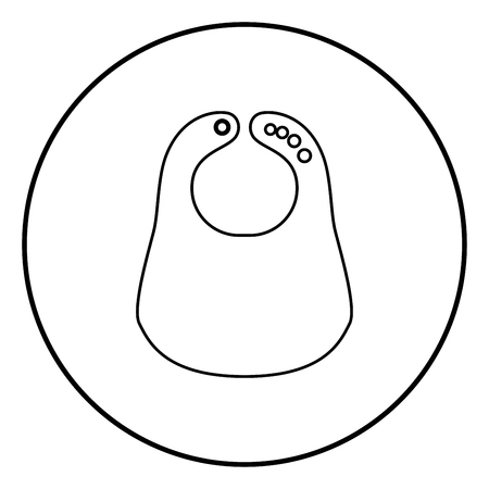 Personalized bib icon black color in circle round outline