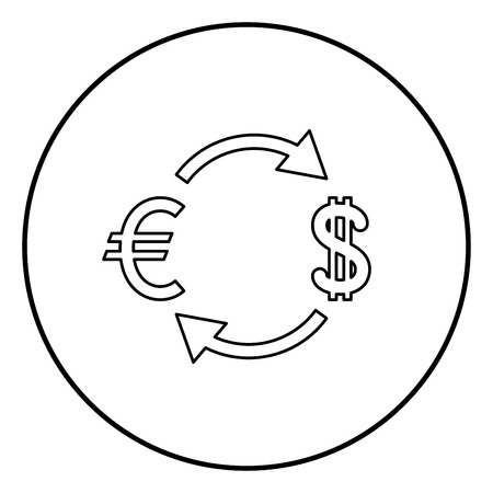 Currency exchange icon black color in circle round outline Ilustrace