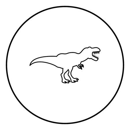 Dinosaur tyrannosaurus t rex icon black color in circle round outline