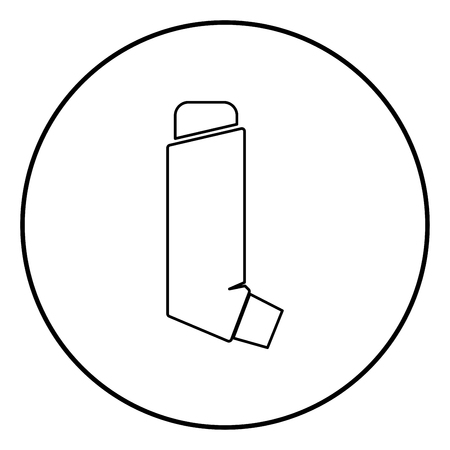 Manual inhaler icon black color in circle round outline