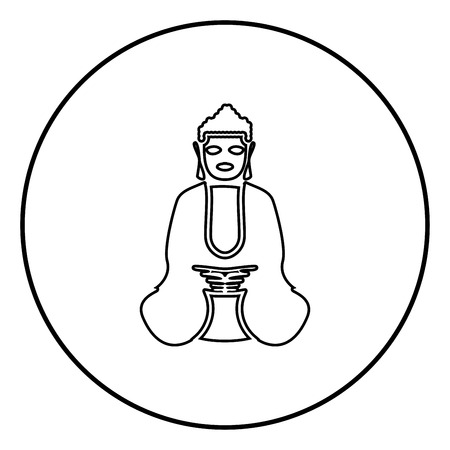 Buddha icon black color in circle round outline