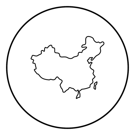 Map of China icon black color in circle round outline Illustration