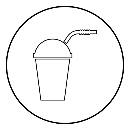 Closed container for hot cold drinks with straw icon black color in circle round outline