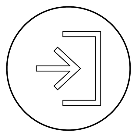 Entry input enter door icon black color in circle round outline Illustration