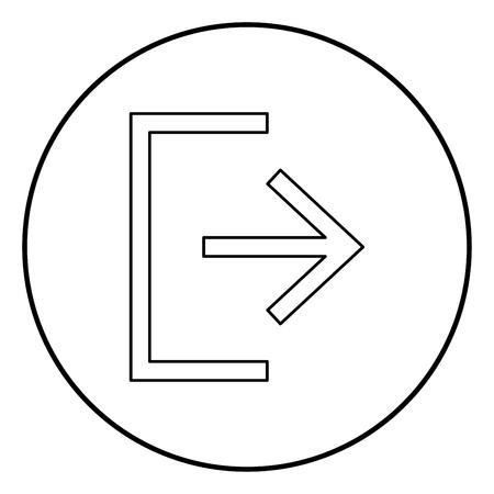 Symbol exit icon black color in circle round outline