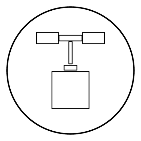 Detonator icon black color in circle round outline