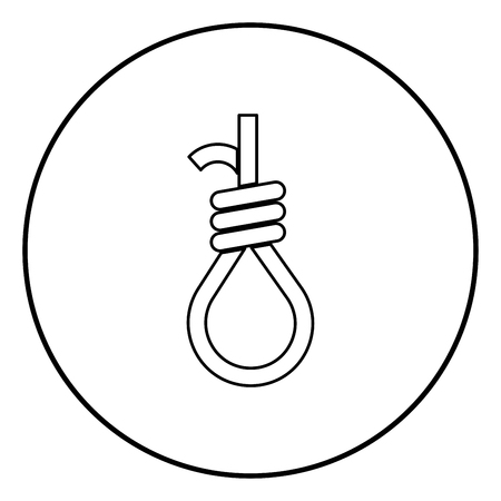 Gallows with rope noose icon black color in circle round outline