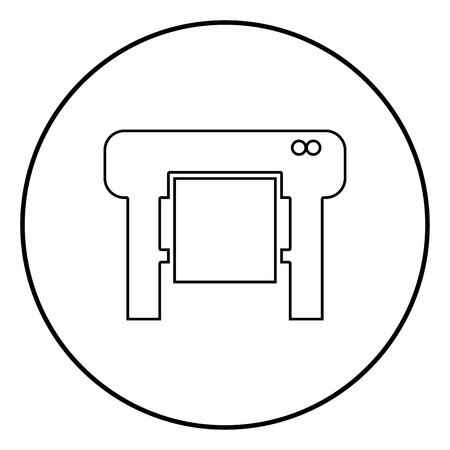Plotter icon black color in circle round outline Illustration