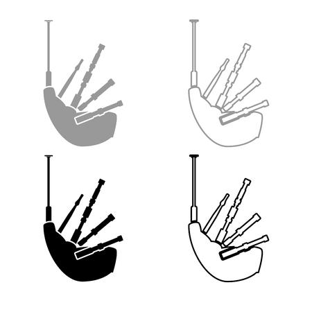 Bagpipes icon set grey black color illustration flat style simple image Illustration