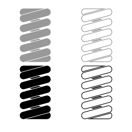 Spring coil icon set grey black color illustration flat style simple image