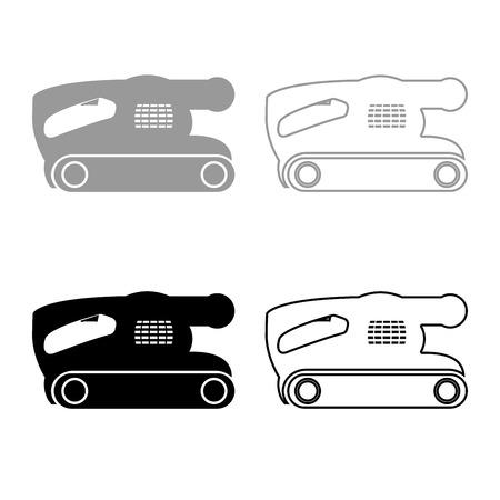 Belt sanding machine for grain finishing held polishing power tool icon set grey black color illustration flat style simple image