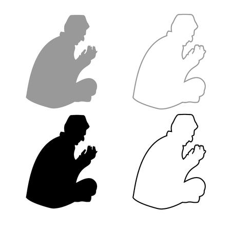 Pregando musulmano set di icone di colore grigio nero illustrazione stile piatto semplice immagine