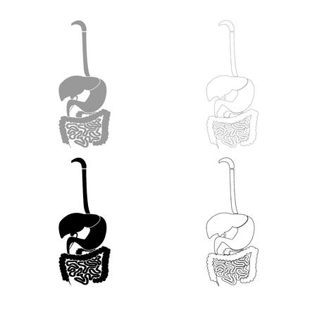 Digestive system icon set grey black color illustration flat style simple image