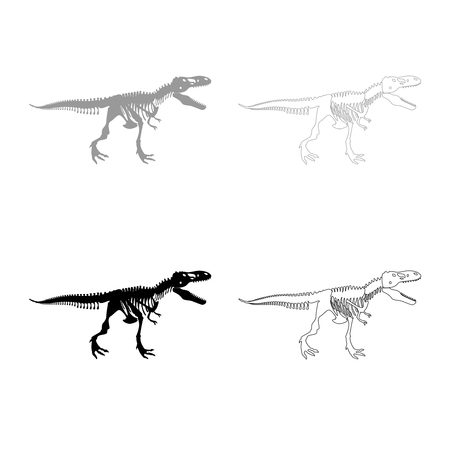 Dinosaur skeleton T rex icon set grey black color illustration flat style simple image
