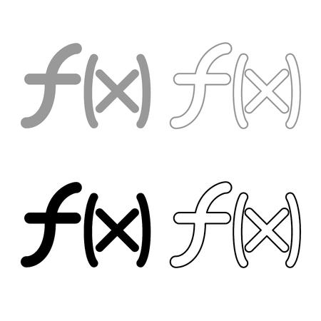 Symbol function icon set grey black color illustration flat style simple image Illustration