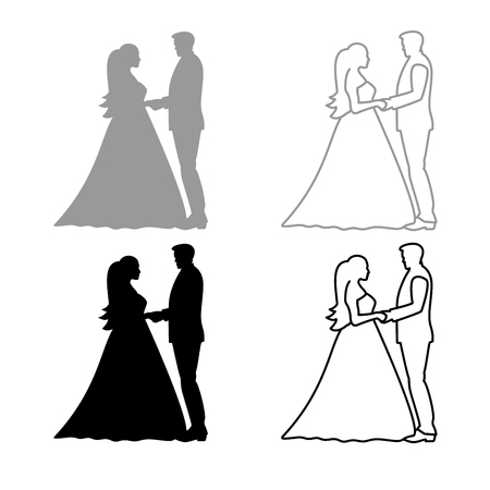 Bride and groom holding hands icon set grey black color illustration flat style simple image
