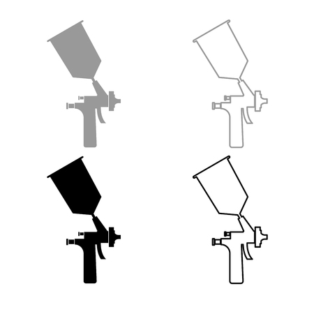 Sprayer paint icon set grey black color illustration flat style simple image