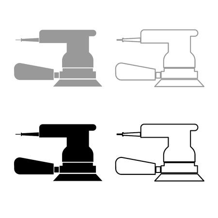 Eccentric grinder icon set grey black color illustration flat style simple image Illustration