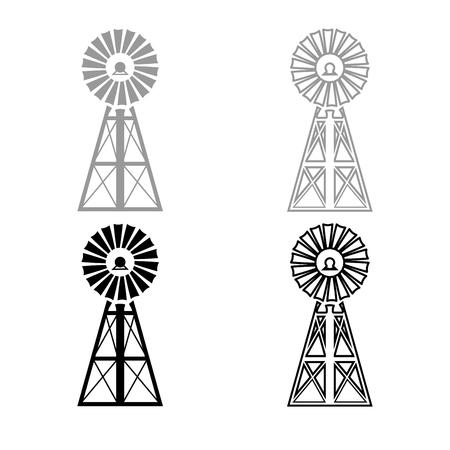 Wind turbine windmill classic american icon set grey black color illustration flat style simple image Illusztráció