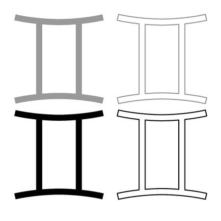 Twin symbol icon set grey black color illustration flat style simple image