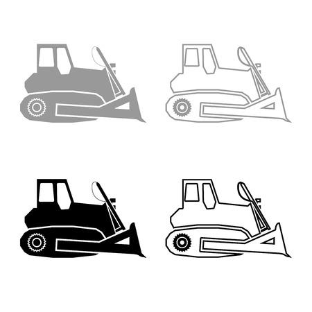 Bulldozer icon set grey black color illustration flat style simple image