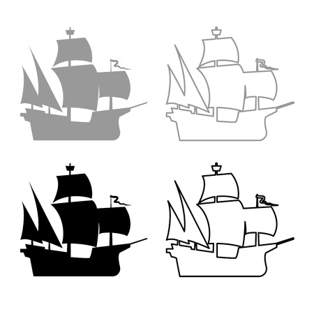 Medieval ship icon set grey black color illustration flat style simple image Illustration