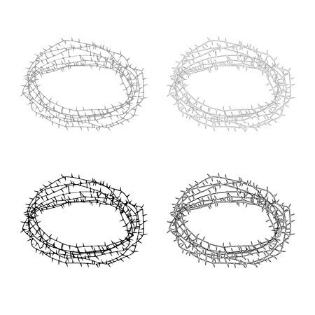 Thorn wreath or barbed wire icon set grey black color illustration flat style simple image Illustration