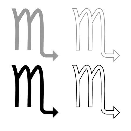 Scorpion symbol zodiac icon set grey black color illustration flat style simple image