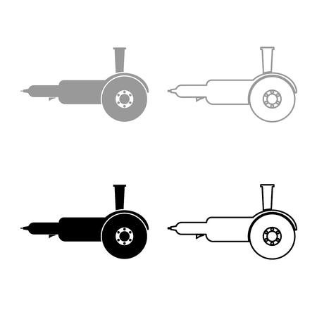 Smerigliatrice angolare per sega circolare elettrica bulgara con dischi a mano set di icone grigio nero colore illustrazione stile piatto semplice immagine Vettoriali