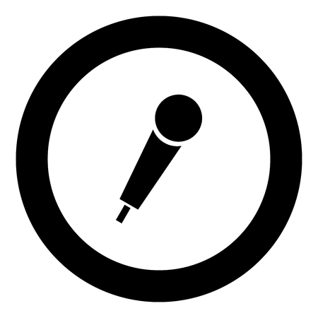 Hand microphone icon black color in round circle vector illustration