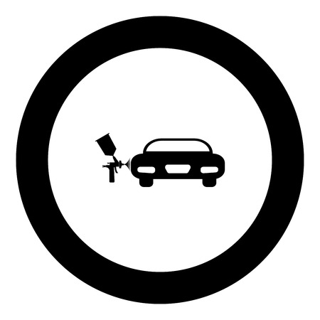 Painting machines icon black color in round circle vector illustration