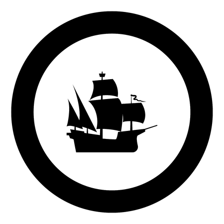 Medieval ship icon black color in round circle vector illustration