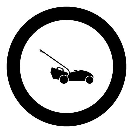 Lawn mower icon black color in round circle vector illustration Vektorgrafik