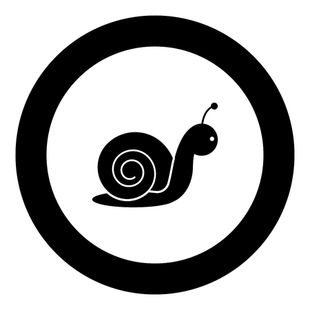 Snail icon black color in round circle vector illustration