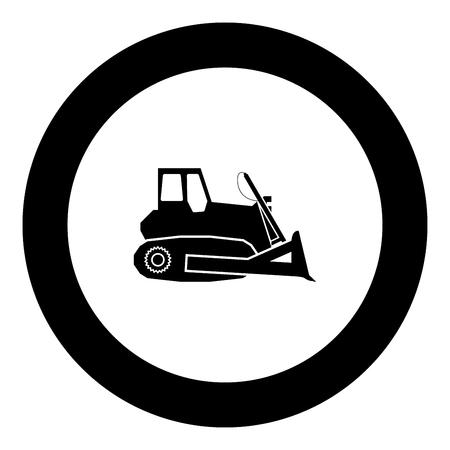 Bulldozer icon black color in round circle vector illustration