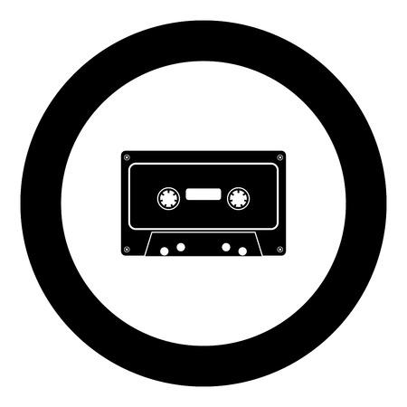 Icône de cassette audio rétro couleur noire en illustration vectorielle cercle rond