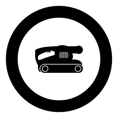 Belt sanding machine for grain finishing held polishing power tool icon black color in round circle vector illustration Illustration