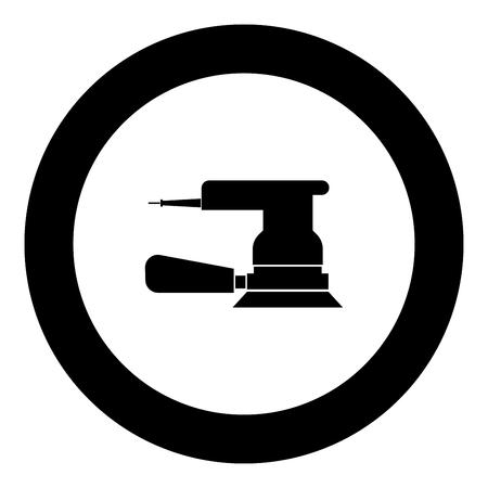 Eccentric grinder icon black color in round circle vector illustration