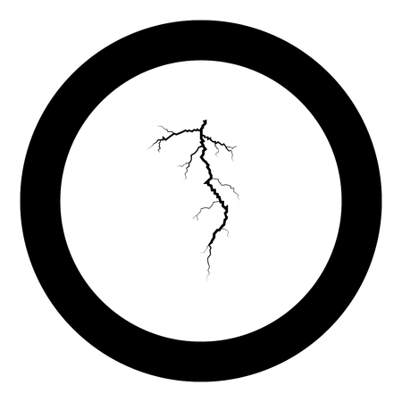 Thunderstorm crack icon black color in round circle vector illustration