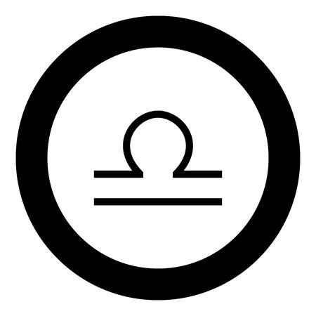 Libra symbol zodiac icon black color in round circle vector illustration