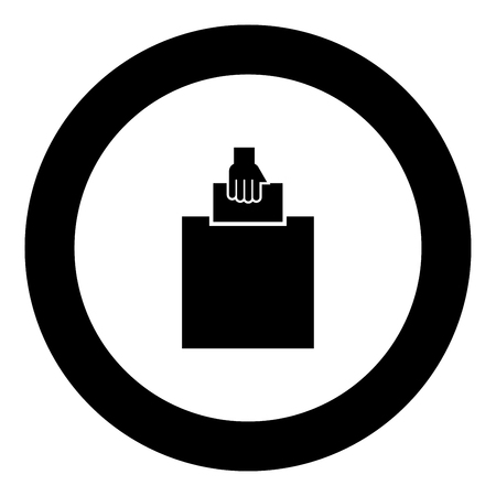 Hand puts a blank in a box for suggestion the voter throws a ticket icon black color in round circle vector illustration