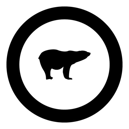 Polar bear icon black color in round circle vector illustration Illustration