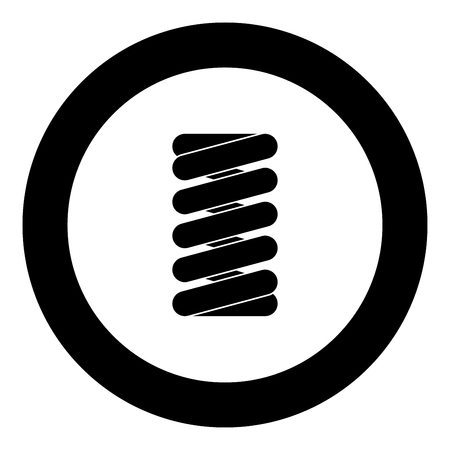 Spring coil icon black color in round circle vector illustration