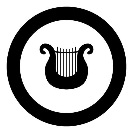 Harp icon black color in round circle vector illustration Vettoriali