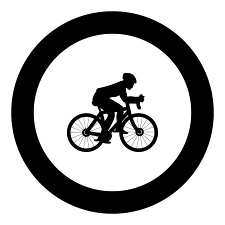 Cyclist on bike silhouette icon black color in round circle vector illustration
