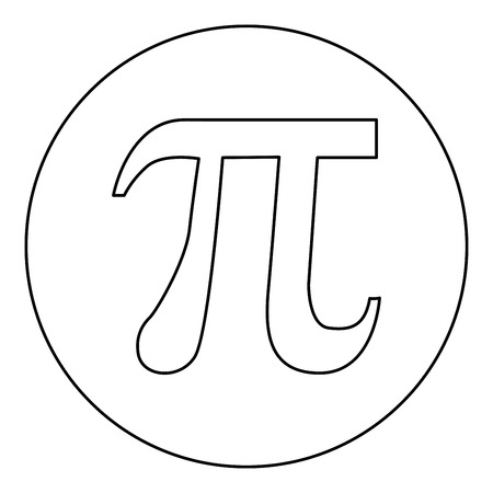 Symbol Pi icon black color in round circle outline vector illustration