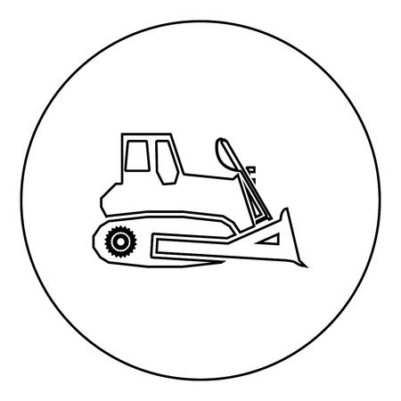 Bulldozer icon black color in round circle outline vector illustration